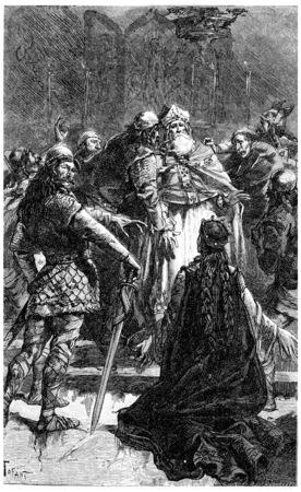 dedicate: Saint radegonde beg the saint medard dedicate to the Lord, vintage engraved illustration.