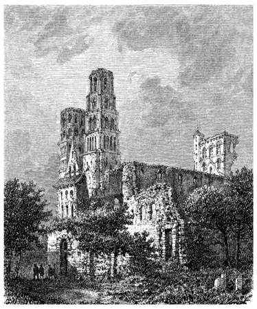 normandy: Ruins of the Abbey of jumieges, vintage engraved illustration.