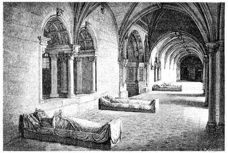 abbey: Cloister of the Abbey of Fontevrault, vintage engraved illustration.
