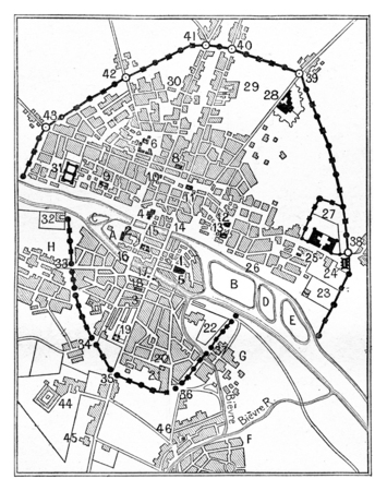 era: Map of Paris in The era of Charles V, vintage engraved illustration. Dictionary of words and things - Larive and Fleury - 1895. Stock Photo