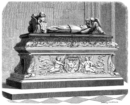 Tomb of the children of Anne of Brittany in the cathedral of Tours, vintage engraved illustration. Фото со стока