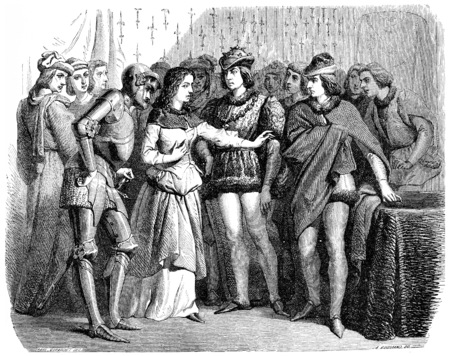 Interview of Charles VII and Joan of Arc Chinon, vintage engraved illustration.