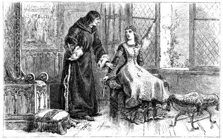 spinning: One day St. Louis, finding her sister spinning wool, vintage engraved illustration.