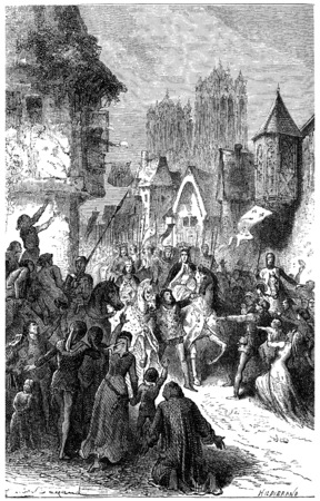louis: Entrance of St. Louis and Blanche of Castile in Reims, vintage engraved illustration. Stock Photo