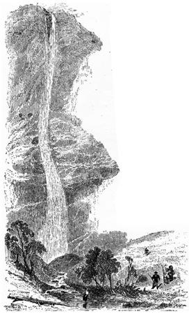 Staubbach, cosecha ilustración grabada. De Chemin des Ecoliers de 1861. Foto de archivo - 39822317