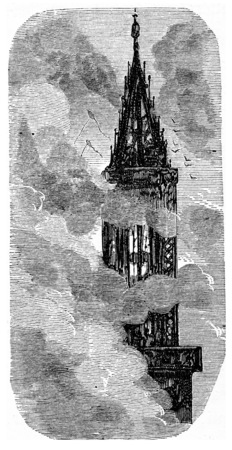 The spire of Strasbourg, vintage engraved illustration. From Chemin des Ecoliers, 1861. Фото со стока