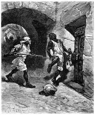 blackmail: Two thousand leagues across south america, the door, or Ill nailed to the wall!, vintage engraved illustration. Journal des Voyages, Travel Journal, (1880-81). Stock Photo