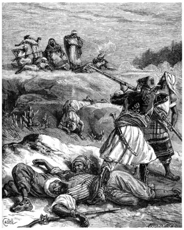 successively: The Greek fell successively five or six servants of the king, vintage engraved illustration. Journal des Voyages, Travel Journal, (1880-81).