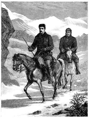 frederick street: Colonel Burnaby Road to Khiva, vintage engraved illustration. Journal des Voyages, Travel Journal, (1880-81).