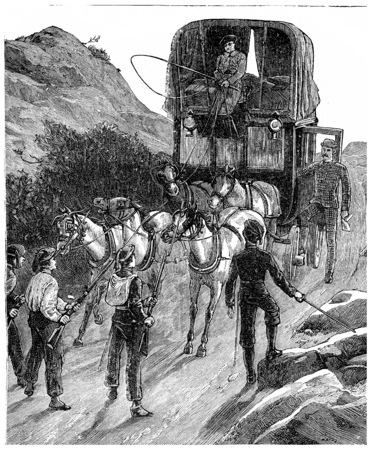 arriving: Colonel Burnaby arriving at the outposts Carlists, vintage engraved illustration. Journal des Voyages, Travel Journal, (1880-81).