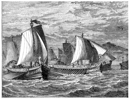 ancient roman: Roman galleys, vintage engraved illustration. Journal des Voyage, Travel Journal, (1880-81). Stock Photo