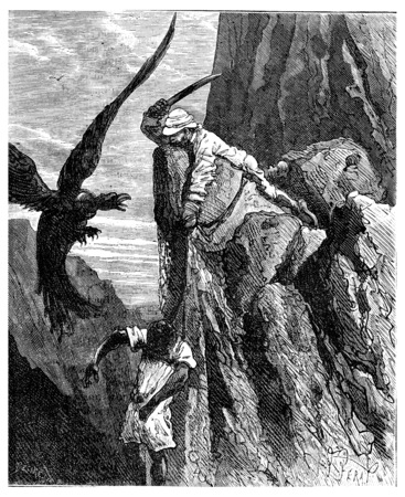two thousand: Two thousand miles across South America. He swiped the condor, vintage engraved illustration. Journal des Voyage, Travel Journal, (1880-81). Stock Photo