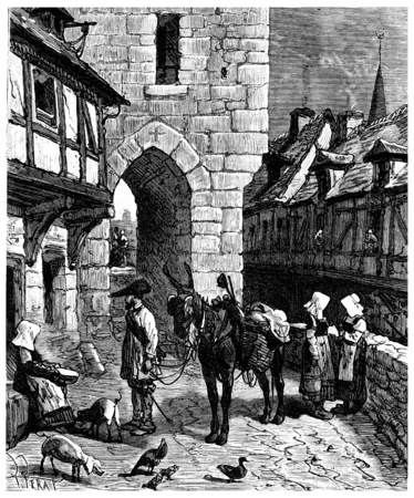 The Tour de France a small Parisian, The streets of Nantes, vintage engraved illustration. Journal des Voyage, Travel Journal, (1880-81).