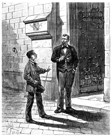 The Tour de France a small Parisian. He found himself face to face with a guard, vintage engraved illustration. Journal des Voyage, Travel Journal, (1880-81).