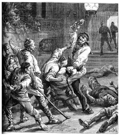 brigand: Yellow brigands, The sailor had grabbed and had crushed their face, vintage engraved illustration. Journal des Voyage, Travel Journal, (1880-81).
