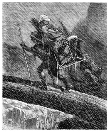 Two thousand miles across South America, He lived as a man of stone in the rain, vintage engraved illustration. Journal des Voyage, Travel Journal, (1880-81).
