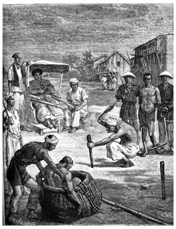 sentenced: Torture of two pirates Tonkin, The second was sentenced to death in a basket, vintage engraved illustration. Journal des Voyage, Travel Journal, (1880-81). Stock Photo