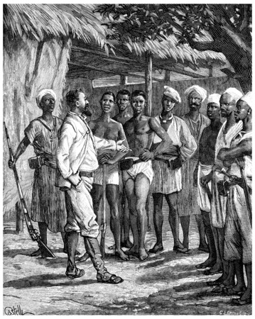 tanganyika: Paris of Lake Tanganyika. I go through the debris of my caravan, vintage engraved illustration. Journal des Voyage, Travel Journal, (1880-81).