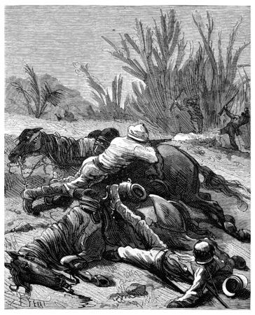 shots: Adventures of an heir worldwide, Julien fired his two shots, vintage engraved illustration. Journal des Voyage, Travel Journal, (1880-81). Stock Photo
