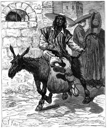 transported: Adventures of an heir worldwide, The water is transported on donkeys, vintage engraved illustration. Journal des Voyage, Travel Journal, (1880-81).