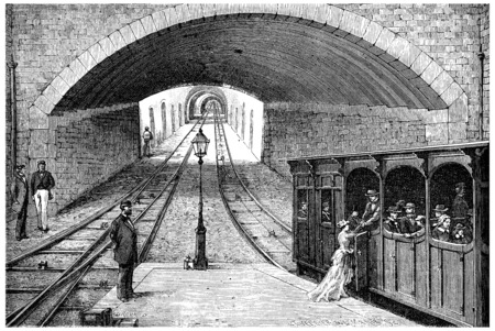 railway transportation: Track railway from Lyons to the Croix-Rousse, vintage engraved illustration. Journal des Voyage, Travel Journal, (1880-81). Stock Photo