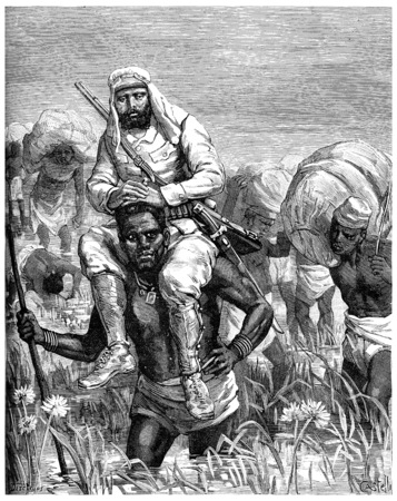 tanganyika: Paris of Lake Tanganyika. We are forced to look for places fordable, vintage engraved illustration. Journal des Voyage, Travel Journal, (1880-81).