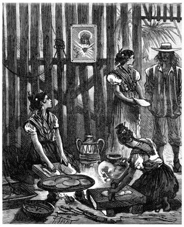 Adventures of an heir worldwide, The brown beauties of Sonora crushed corn boiled, vintage engraved illustration. Journal des Voyage, Travel Journal, (1880-81). Banco de Imagens