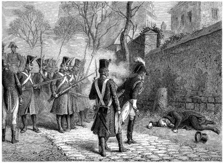 Death of Marshal Ney, vintage engraved illustration. History of France – 1885. Stock Illustration - 39822914