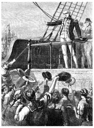 Lord Duncan spreekt met zo'n warmte, zoals patriottisme, vintage gegraveerde illustratie. Journal des Voyage, Travel Journal, (1880-1881). Stockfoto