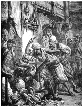 bazaar: Paris of Lake Tanganyika. A bazaar in Aden, vintage engraved illustration. Journal des Voyage, Travel Journal, (1880-81). Stock Photo
