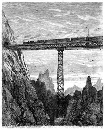 heir: Adventures of an heir worldwide, On the train, Bridges dizzy, vintage engraved illustration. Journal des Voyage, Travel Journal, (1880-81).