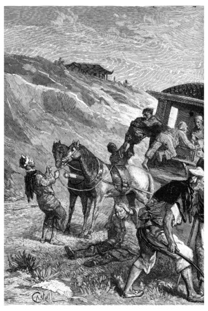 Abandoned in jewels, the Queen could continue his journeyvintage engraved illustration. Journal des Voyage, Travel Journal, (1880-81). Stock Photo