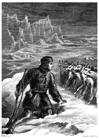 terror: On ice with wolves, pale with terror, he takes a moment off, vintage engraved illustration. Journal des Voyage, Travel Journal, (1880-81).