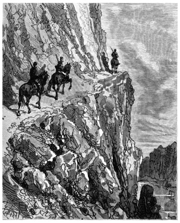 dept: The road over the river from a height of two hundred meters, vintage engraved illustration. Journal des Voyage, Travel Journal, (1880-81).