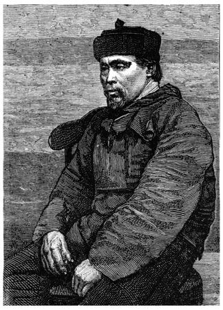 interpreter: Hans Hendrik, Eskimo interpreter and guide, vintage engraved illustration. Journal des Voyage, Travel Journal, (1880-81). Stock Photo