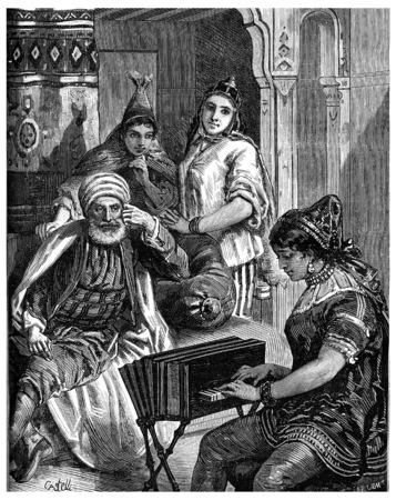 tradition: Saturday night in a Jewish family in Tunis, vintage engraved illustration. Journal des Voyage, Travel Journal, (1880-81).