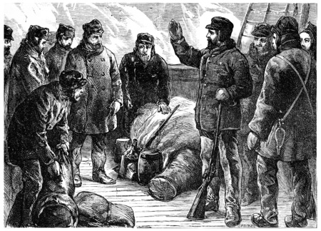 lieutenant: Lieutenant Greely and his companions at the start of the Lady Franklin Bay, vintage engraved illustration. Journal des Voyage, Travel Journal, (1880-81).