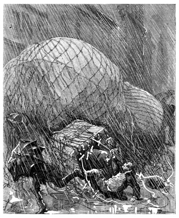 tore: He tore himself from his pod, prey to one of these stupors, vintage engraved illustration. Journal des Voyage, Travel Journal, (1880-81). Stock Photo