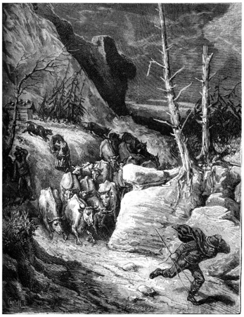 panicked: The mountains seem to leap, cows down by troops panicked and flow into the ravines, vintage engraved illustration. Journal des Voyage, Travel Journal, (1880-81).