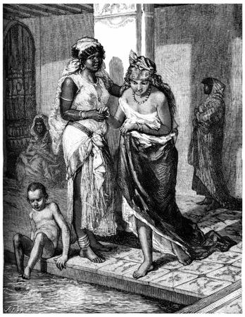 大きい洗面器、それは水泳、ビンテージの刻まれた図は、モザイクと舗装された中庭です。ジャーナル デ航海、トラベル ジャーナル、(1880-81)。