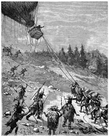redskin: It can not suppress a horror at the sight of the Redskins gesture, vintage engraved illustration. Journal des Voyage, Travel Journal, (1880-81).