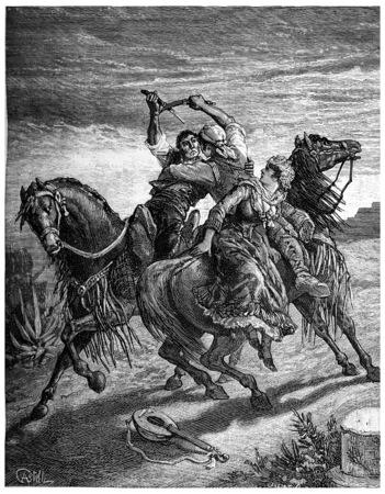 In Andalusië, messen beschadigen het oog, vintage gegraveerde illustratie. Journal des Voyage, Travel Journal, (1880-1881).