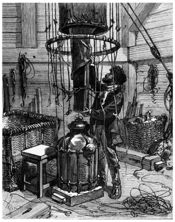 flowed: He collected the parts forming the unit, the hot air flowed into the enormous globe, vintage engraved illustration. Journal des Voyage, Travel Journal, (1880-81).