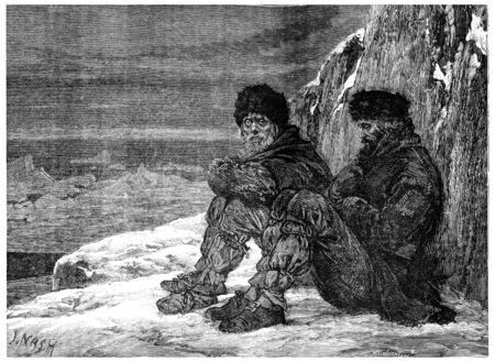 Arctic polar regions, Abandoned Cape York, vintage engraved illustration. Journal des Voyage, Travel Journal, (1880-81).
