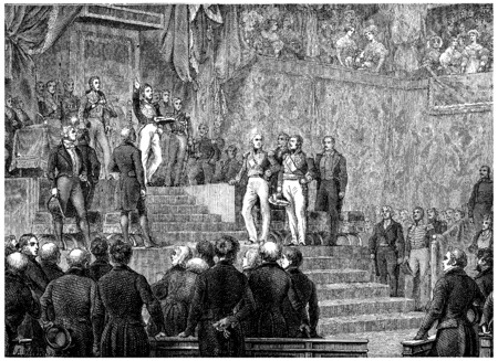 chamber: Louis-Philippe oath before the Chamber of Deputies, vintage engraved illustration. History of France – 1885. Stock Photo