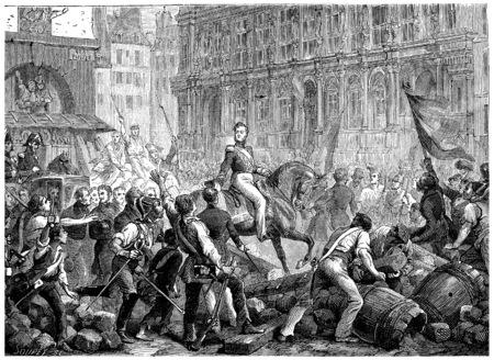 orleans: Arrival of the Duke of Orleans at the Hotel de Ville, vintage engraved illustration. History of France – 1885 Stock Photo