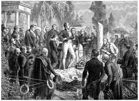general: Funeral of General Foy, vintage engraved illustration. History of France – 1885.
