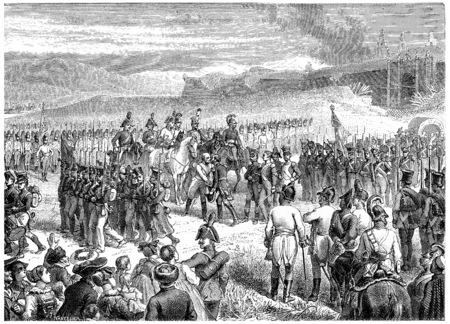 Huningen surrender, vintage engraved illustration. History of France – 1885. Stock Photo