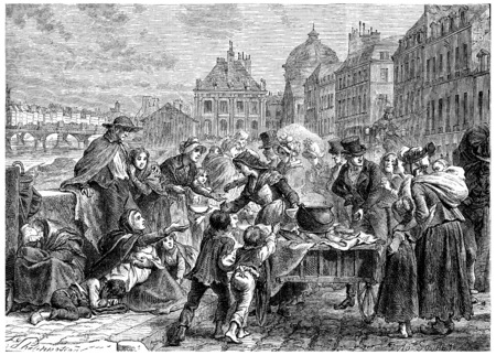 food distribution: Distribution of food to the starving peasants, vintage engraved illustration. History of France – 1885.