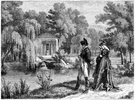 Last residence of Napoleon at Malmaison, vintage engraved illustration. History of France – 1885. 免版税图像